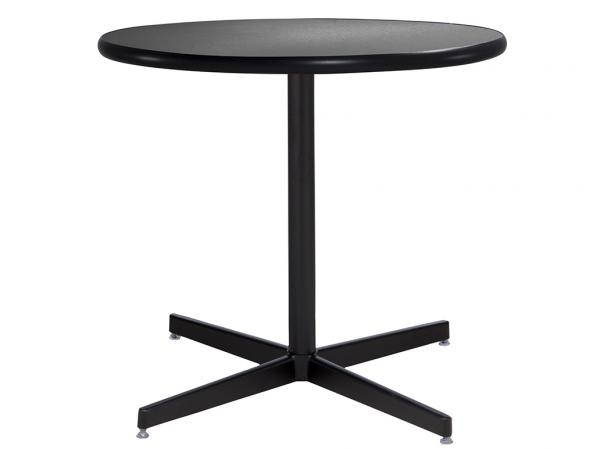 "30"" Round Cafe Table w/ Brushed Gunmetal Top and Standard Black Base (CECA-021)