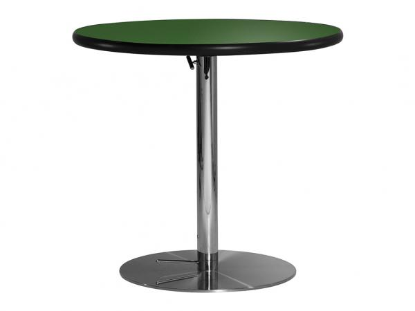 "30"" Round Cafe Table w/ Green Top and Hydraulic Base (CECA-026)