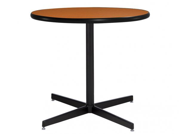 "30"" Round Cafe Table w/ Orange Top and Standard Black Base (CECA-027)